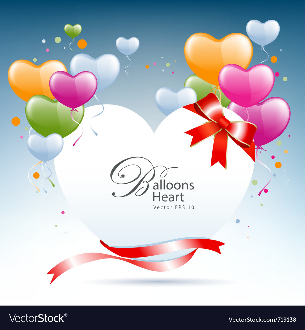 Balloon heart card vector | Price: 1 Credit (USD $1)