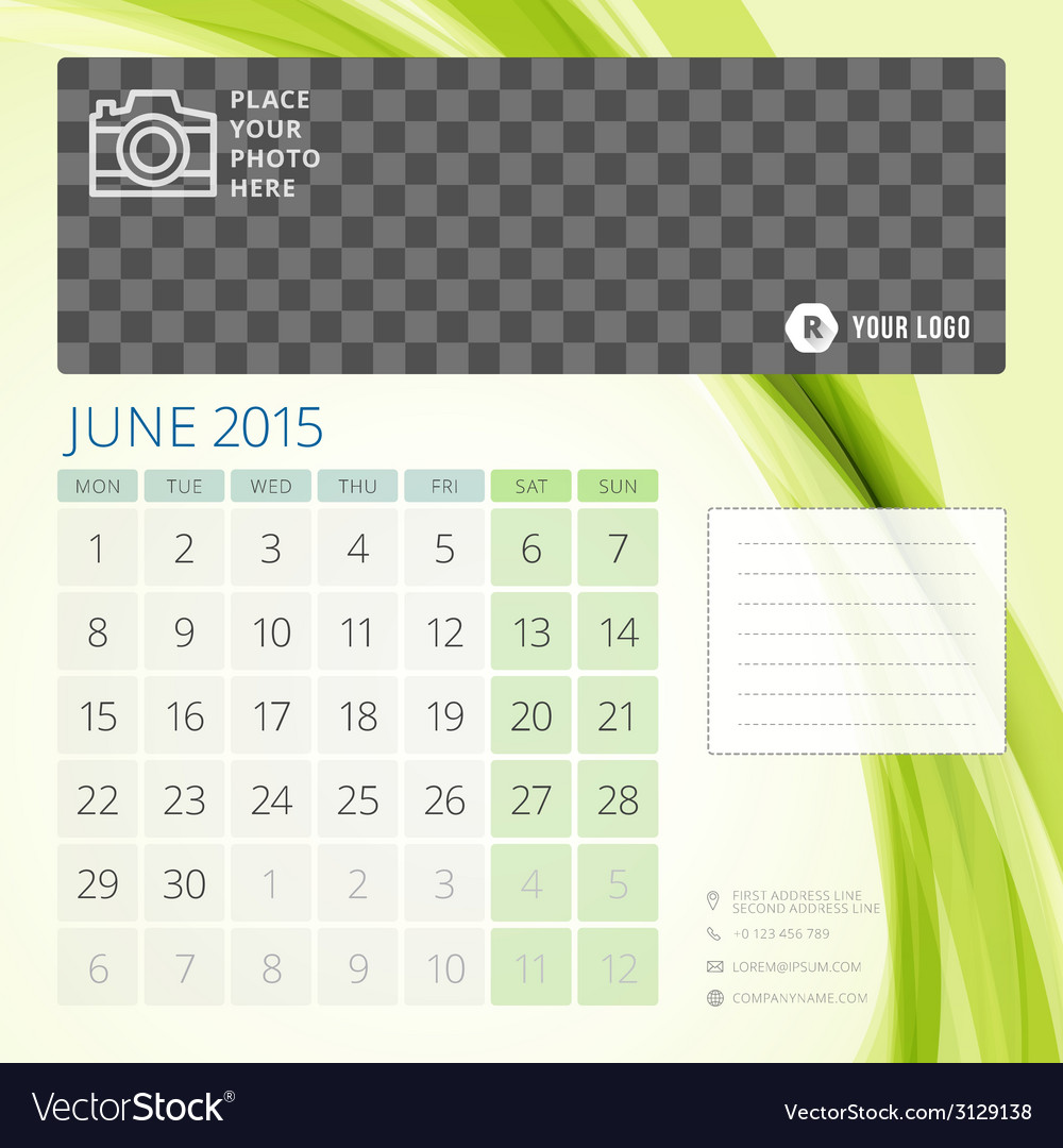 Calendar 2015 june template with place for photo vector | Price: 1 Credit (USD $1)