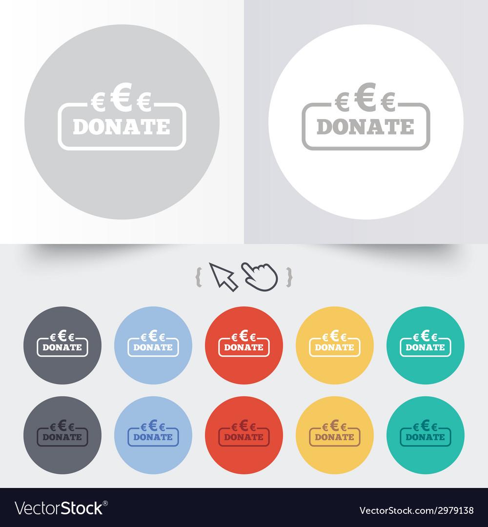 Donate sign icon euro eur symbol vector   Price: 1 Credit (USD $1)