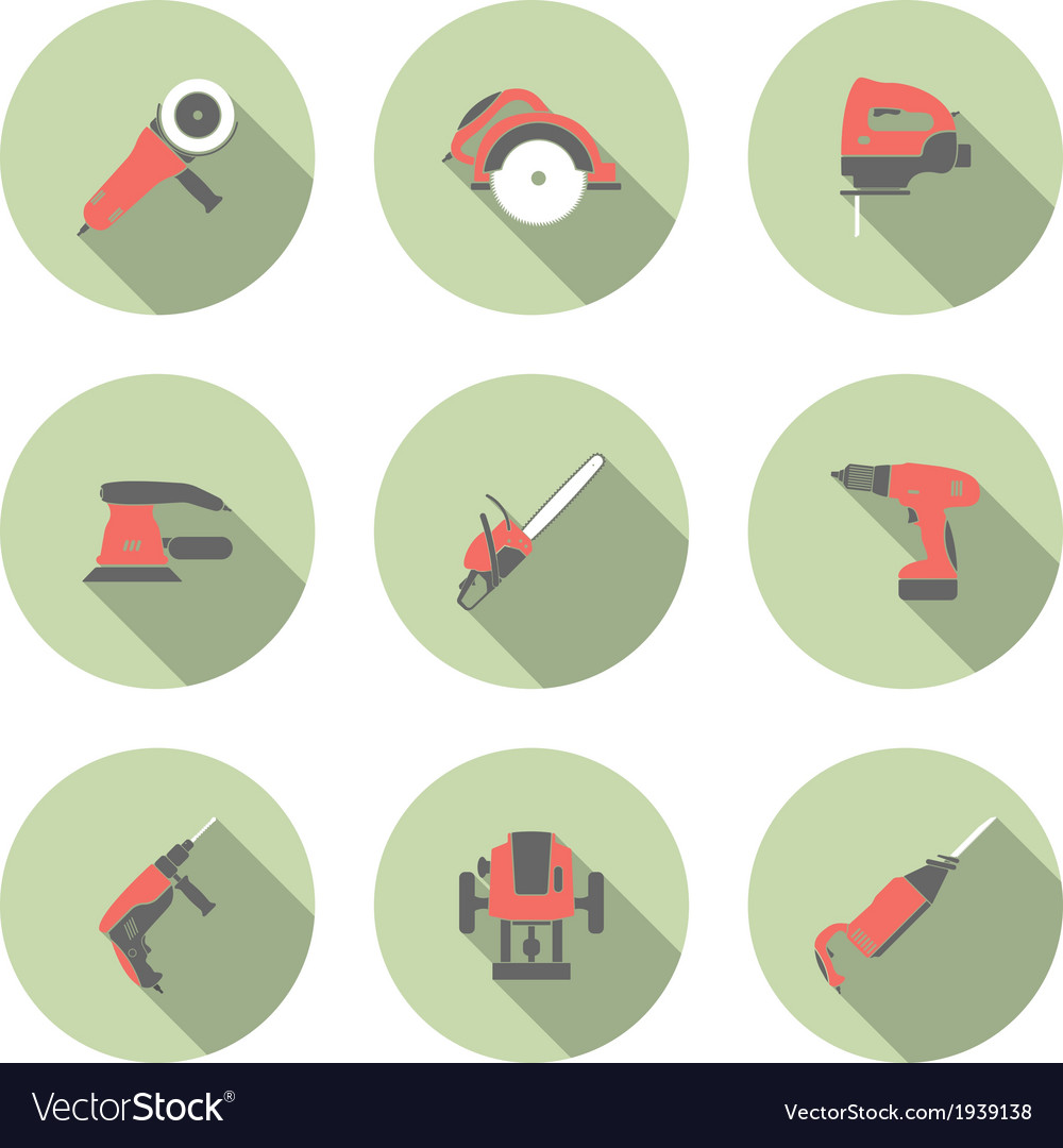 Electric tool flat icons set vector | Price: 1 Credit (USD $1)