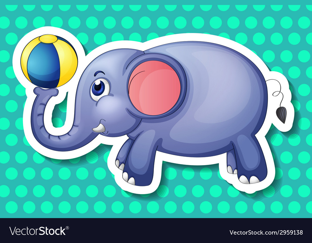 Elephant and ball vector | Price: 1 Credit (USD $1)