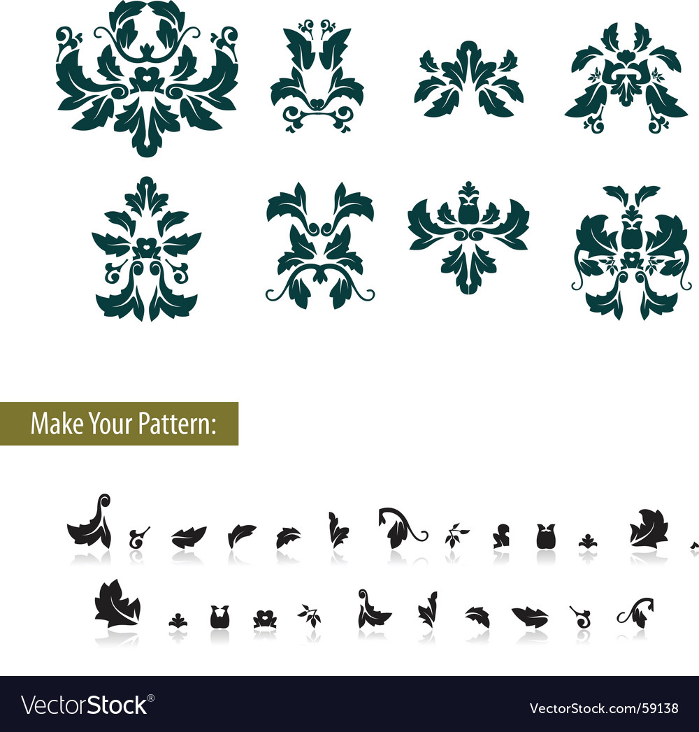 Floral damask leaf element set vector | Price: 1 Credit (USD $1)