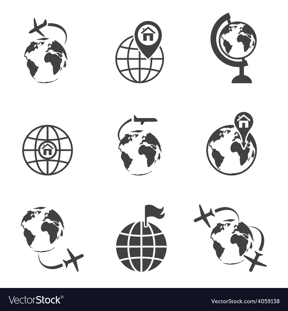 Global communication icon set vector | Price: 1 Credit (USD $1)