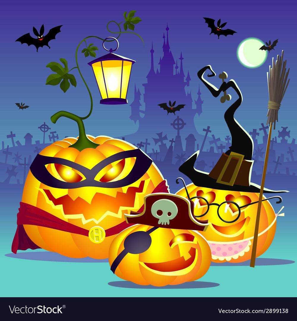Halloween happy family of pumpkins vector | Price: 3 Credit (USD $3)