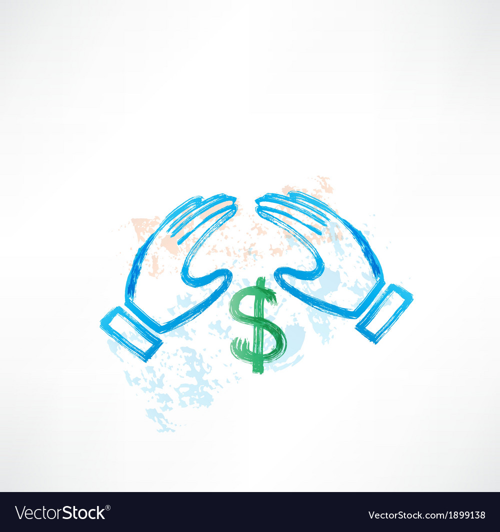 Hands dollar grunge vector | Price: 1 Credit (USD $1)