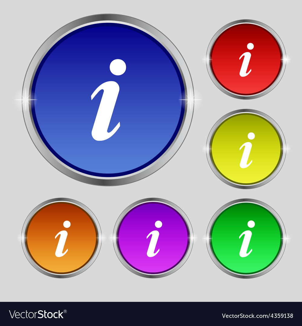Information info icon sign round symbol on bright vector | Price: 1 Credit (USD $1)