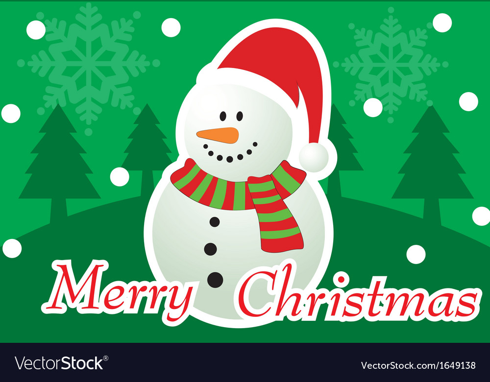 Merry christmas snowman greeting card vector | Price: 1 Credit (USD $1)