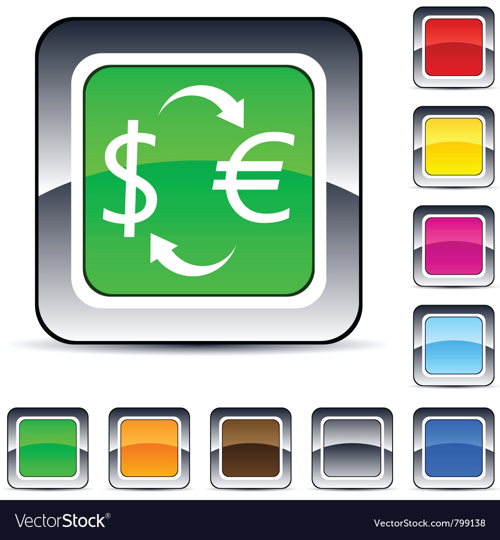 Money exchange square button vector | Price: 1 Credit (USD $1)