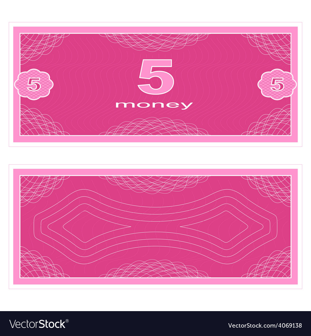 Play money five vector | Price: 1 Credit (USD $1)