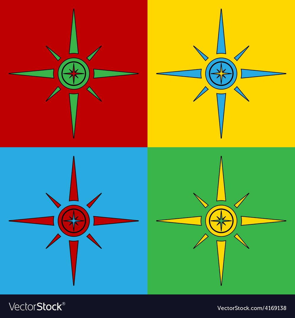 Pop art compass icons vector | Price: 1 Credit (USD $1)