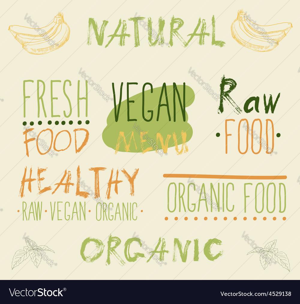 Raw vegan food calligraphy vector | Price: 1 Credit (USD $1)