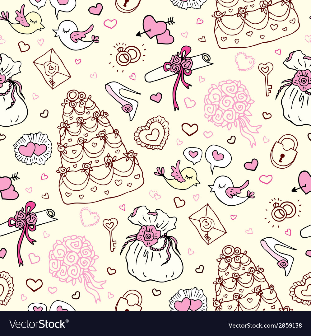 Seamless wedding patterns vector | Price: 1 Credit (USD $1)