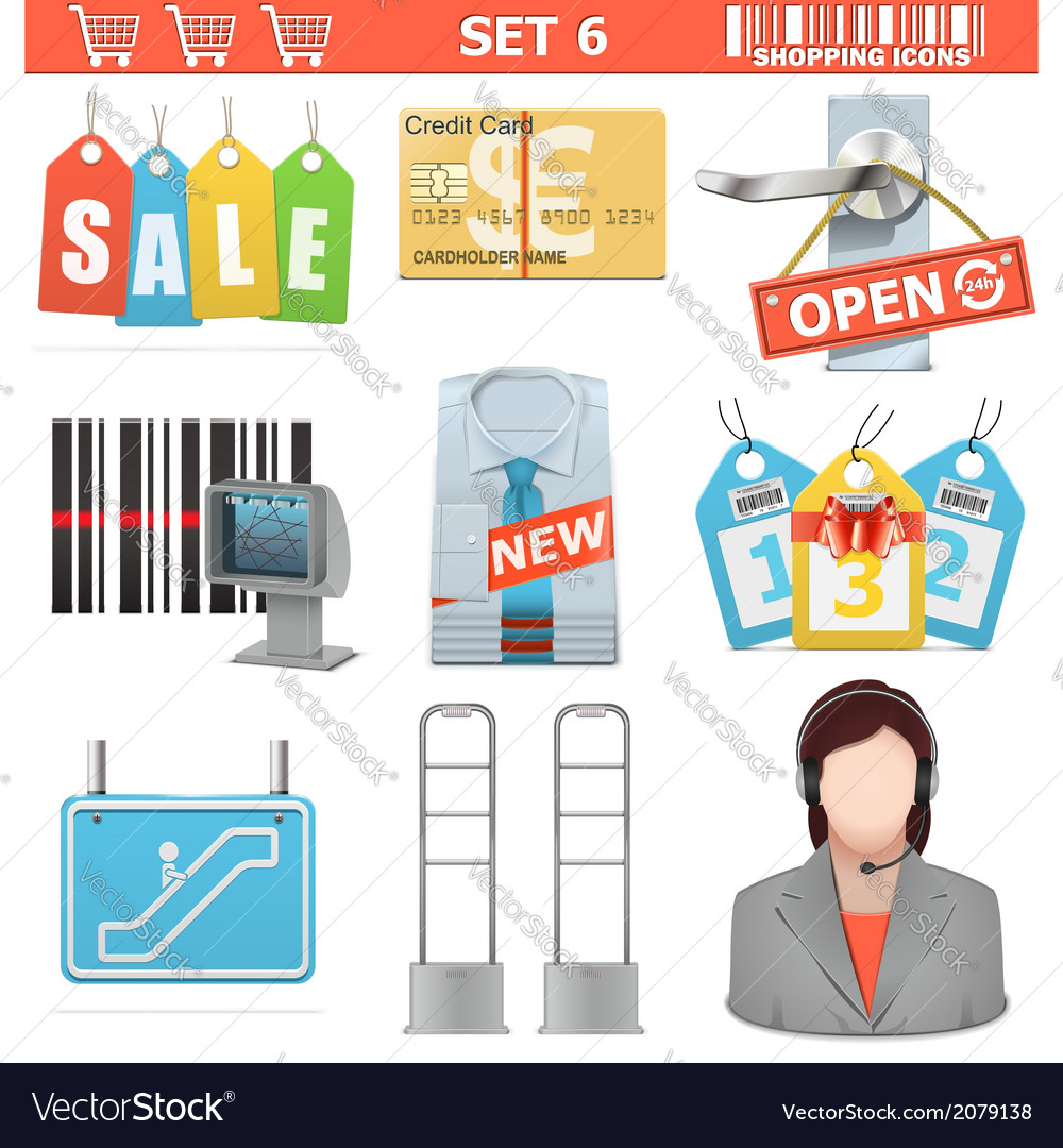 Shopping icons set 6 vector | Price: 1 Credit (USD $1)