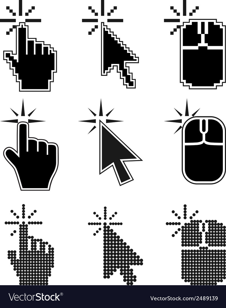 Click here mouse cursors set vector | Price: 1 Credit (USD $1)