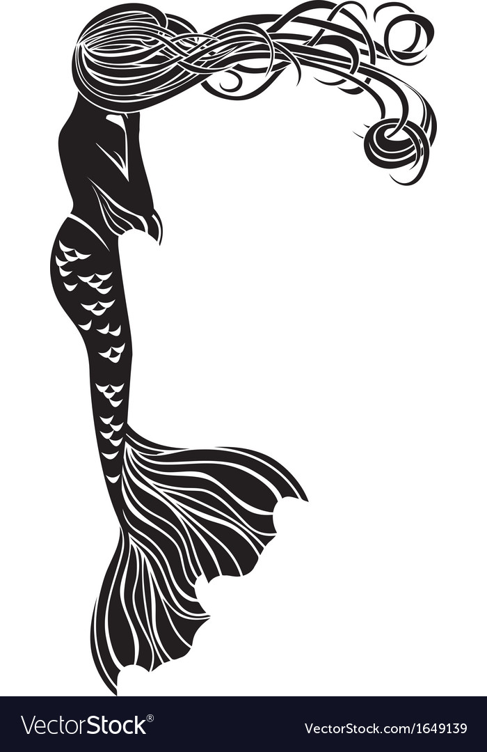 Crying mermaid stencil for stickers vector | Price: 1 Credit (USD $1)