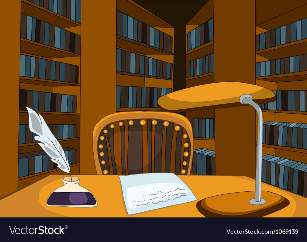 Library room cartoon vector | Price: 1 Credit (USD $1)