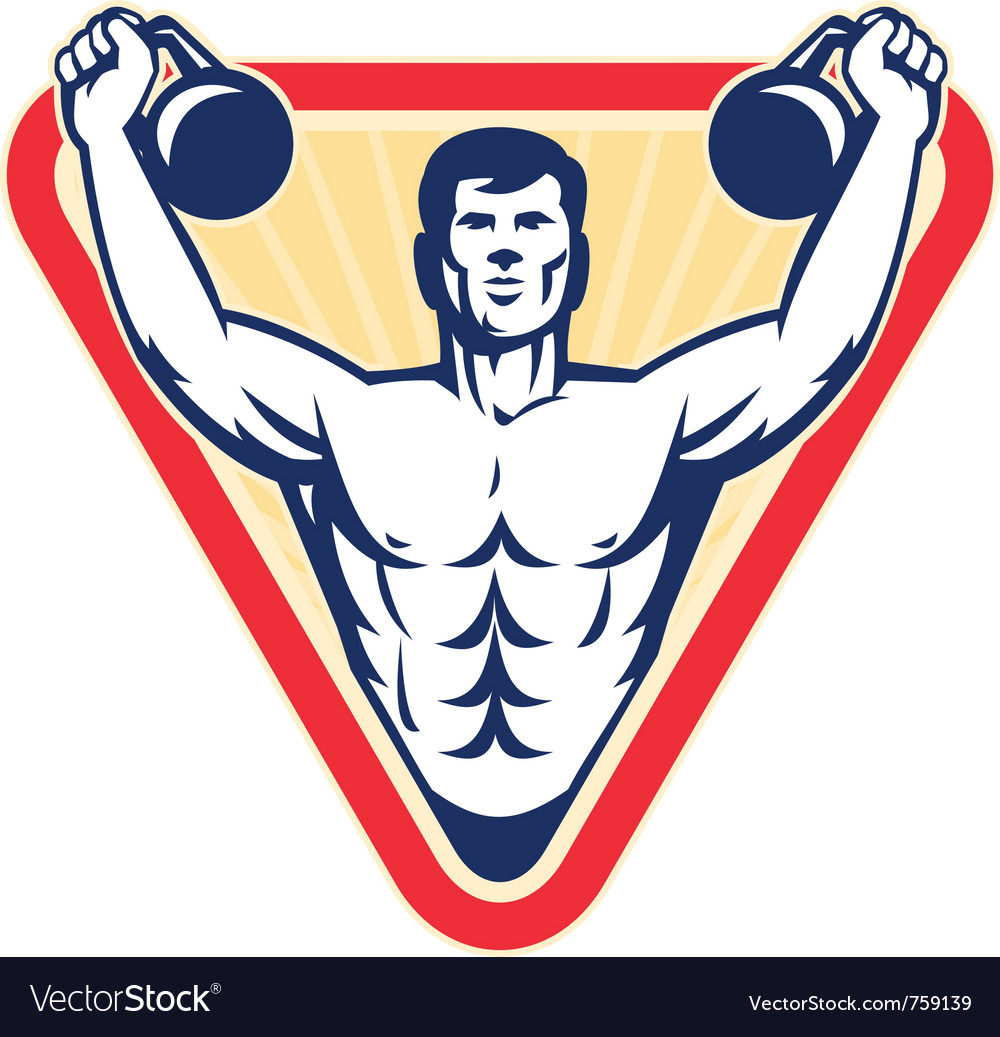 Muscle male exercising kettlebell vector | Price: 1 Credit (USD $1)