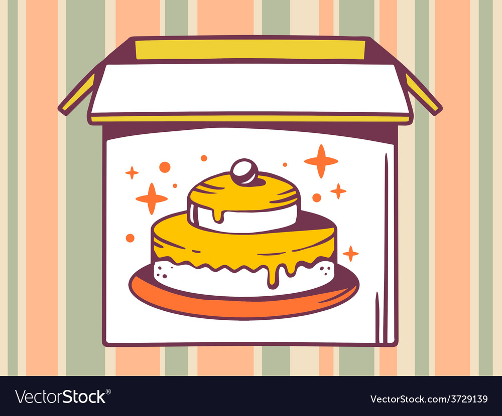 Open box with icon of cake on striped pa vector | Price: 1 Credit (USD $1)