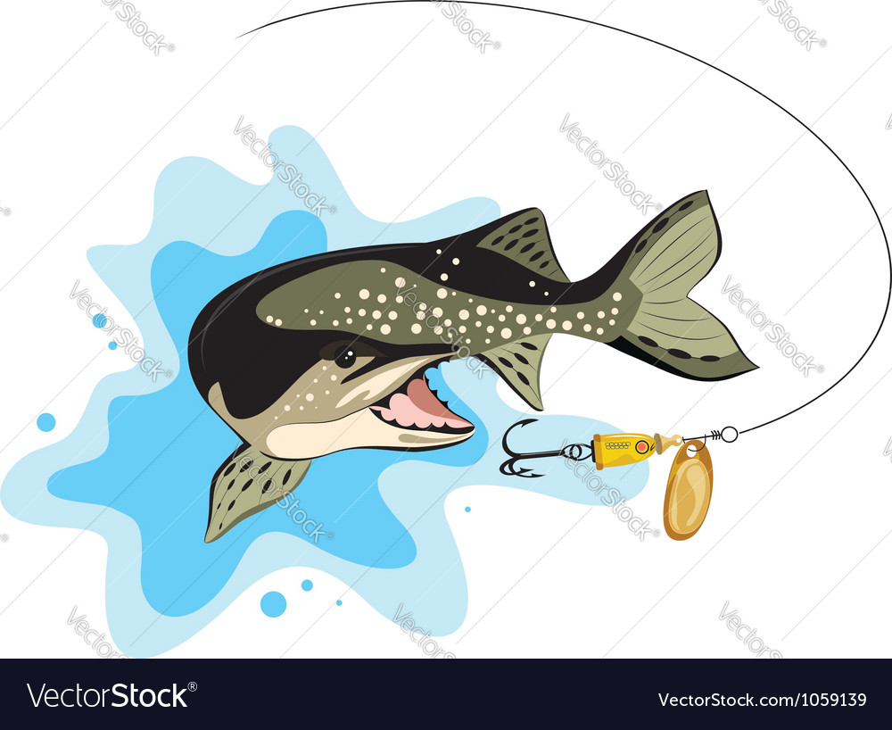Pike and lure fishing vector | Price: 1 Credit (USD $1)