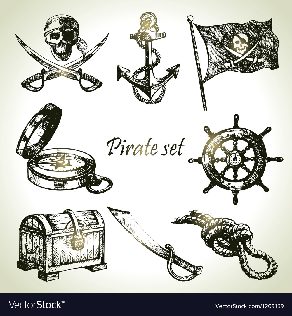 Pirates set hand drawn vector | Price: 3 Credit (USD $3)