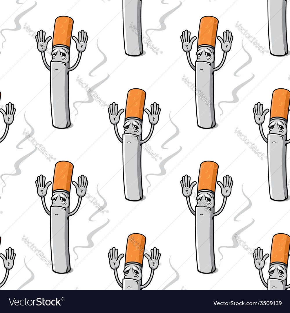 Sad cartoon cigarette with raised hand seamless vector | Price: 1 Credit (USD $1)