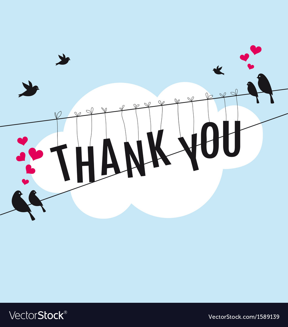 Thank you with birds in the sky vector | Price: 1 Credit (USD $1)