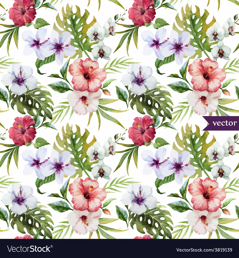Watercolor hibiscus orchid white palm vector | Price: 1 Credit (USD $1)