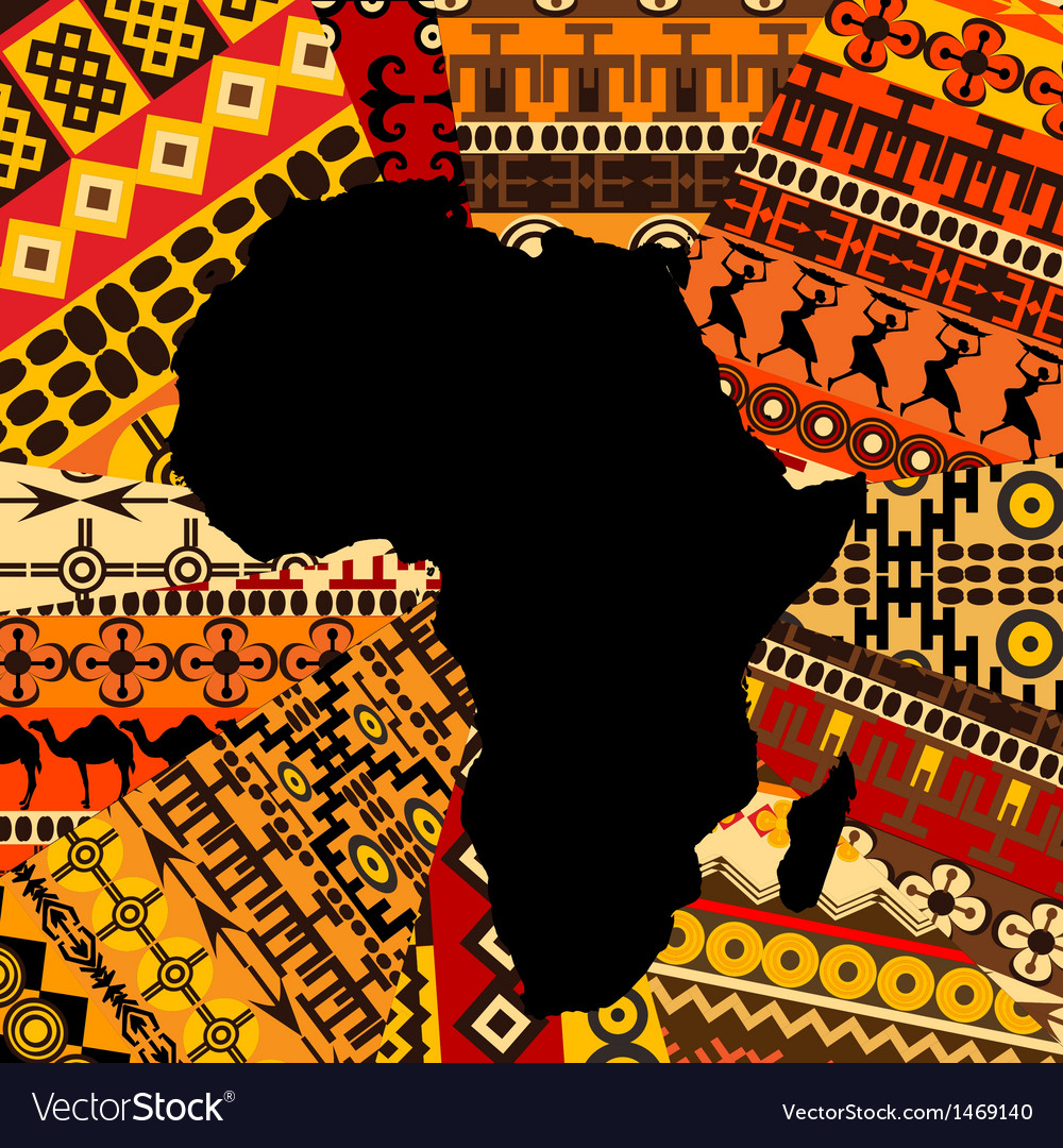 Africa map ethnic background vector | Price: 1 Credit (USD $1)