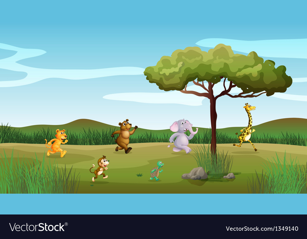 Animals racing at the hill vector | Price: 1 Credit (USD $1)
