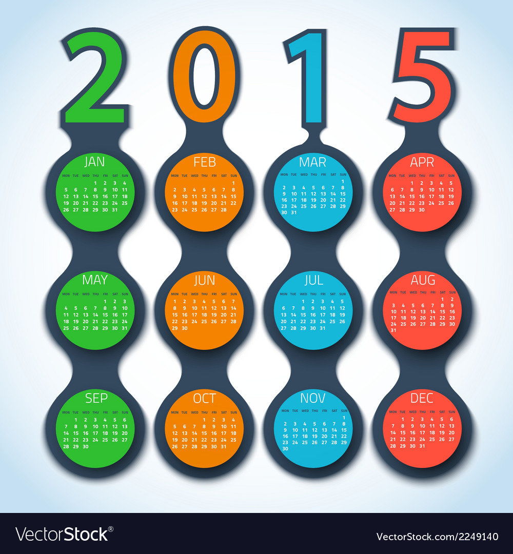 Calendar 2015 metaball background vector | Price: 1 Credit (USD $1)