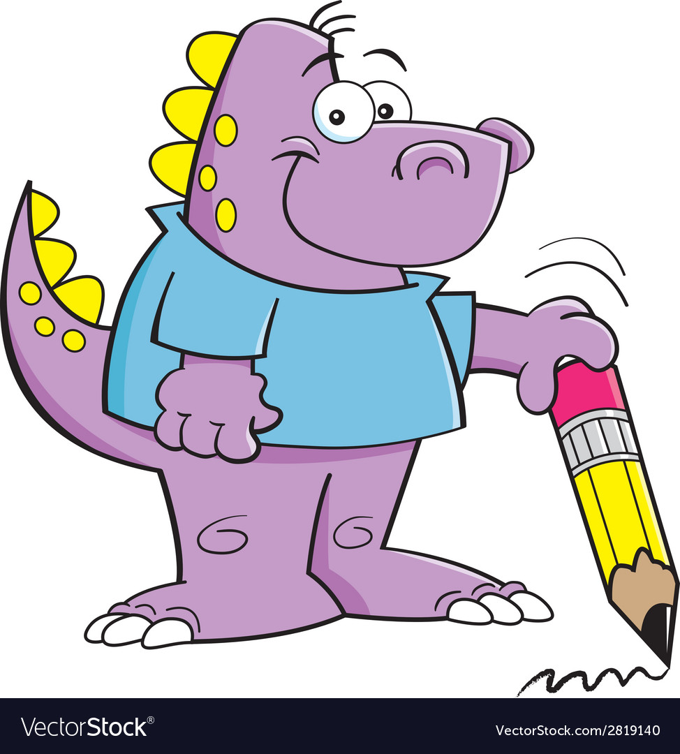 Cartoon dinosaur holding a pencil vector   Price: 1 Credit (USD $1)