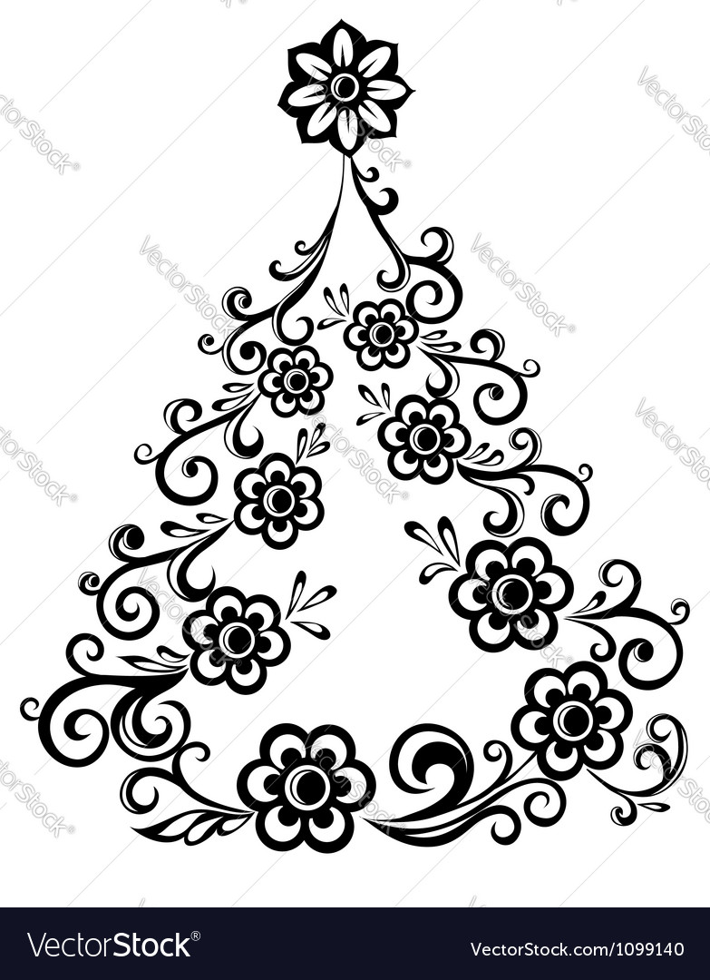 Christmas tree abstract floral pattern vector | Price: 1 Credit (USD $1)