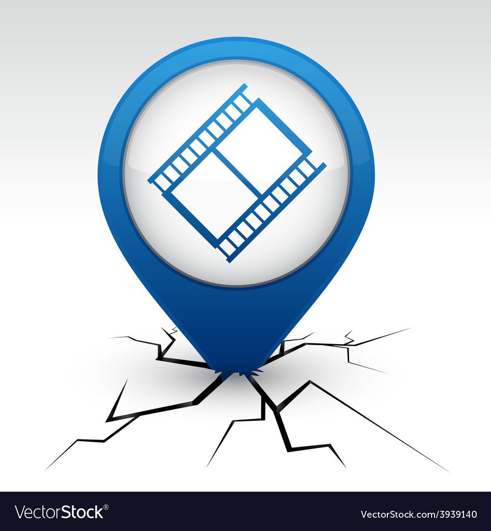 Cinema blue icon in crack vector | Price: 1 Credit (USD $1)