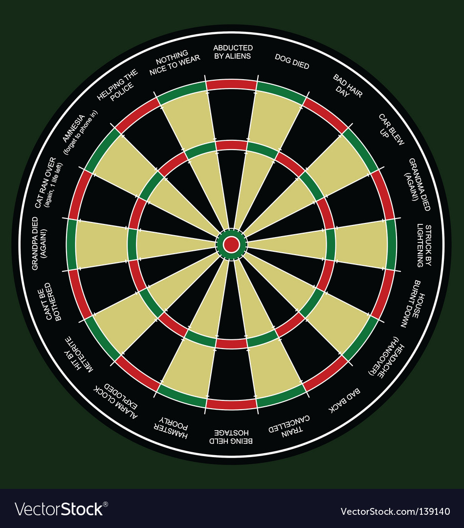 Dartboard work excuses vector | Price: 1 Credit (USD $1)