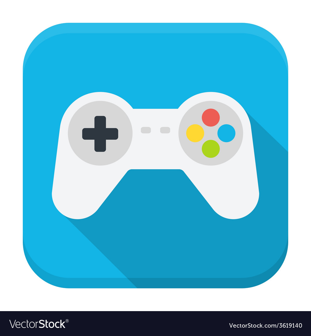 Game console flat app icon with long shadow vector | Price: 1 Credit (USD $1)