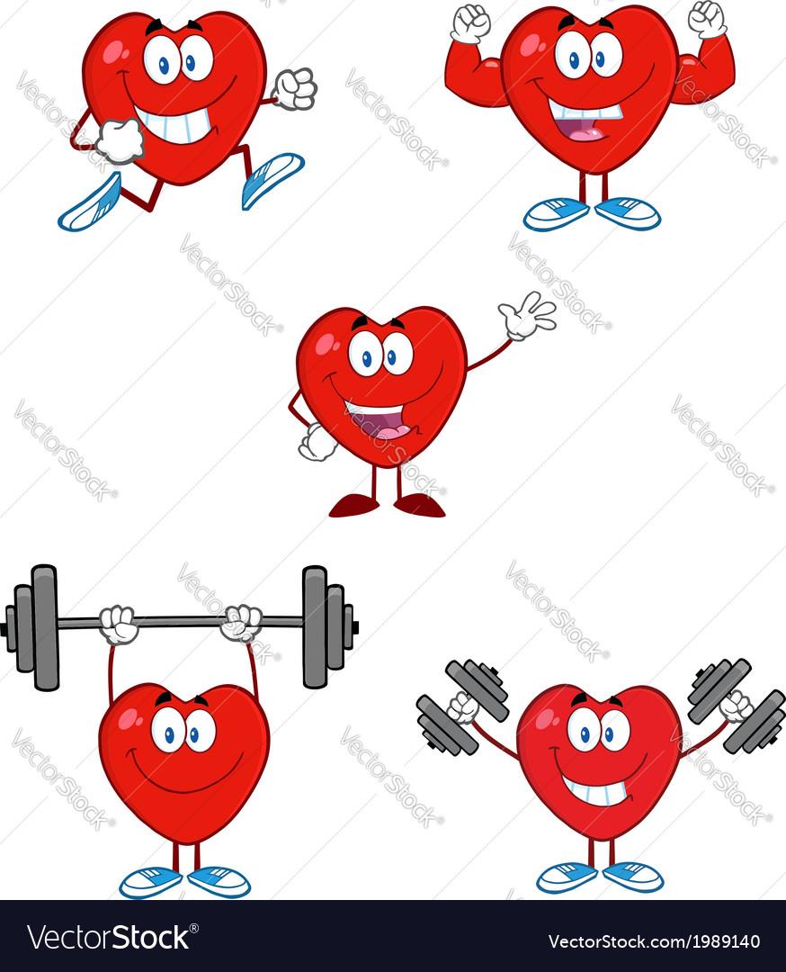 Heart cartoon excercising vector | Price: 1 Credit (USD $1)