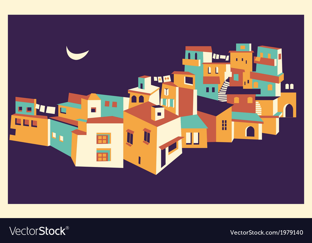 House set asian night city vector | Price: 1 Credit (USD $1)