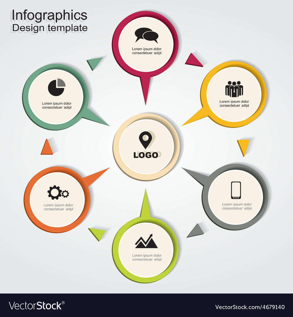 Infographic report template with arrows and icons vector | Price: 1 Credit (USD $1)