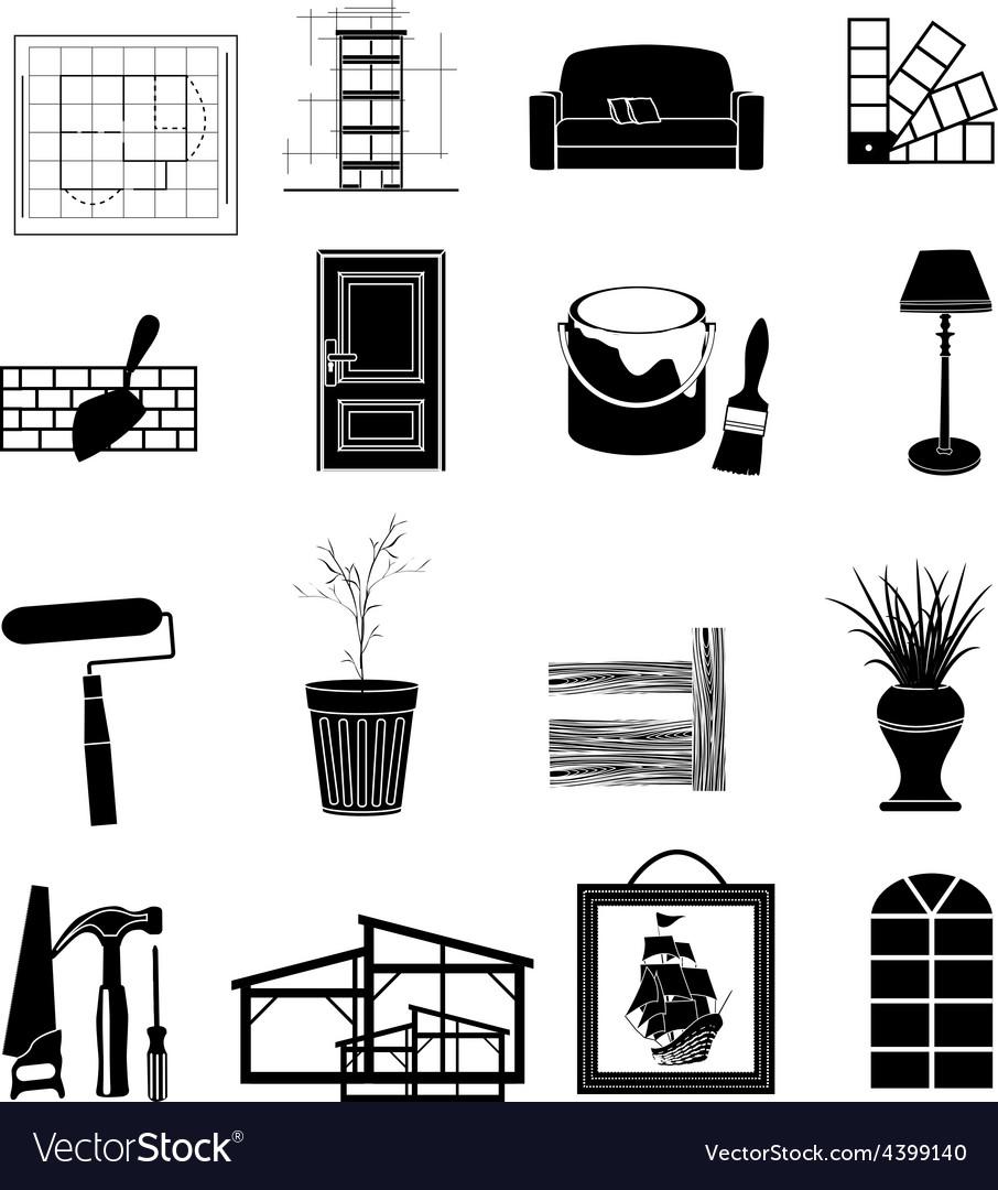 Interior design icons set vector | Price: 3 Credit (USD $3)