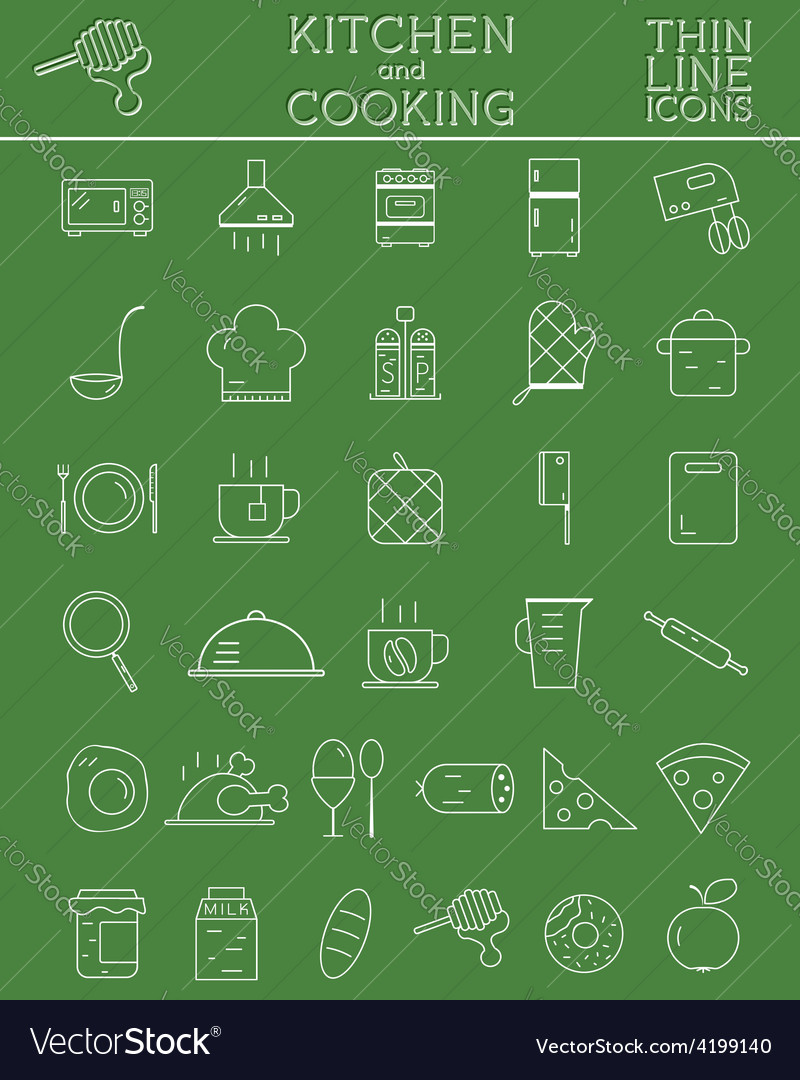 Kitchen and cooking outline icons set morning vector | Price: 1 Credit (USD $1)