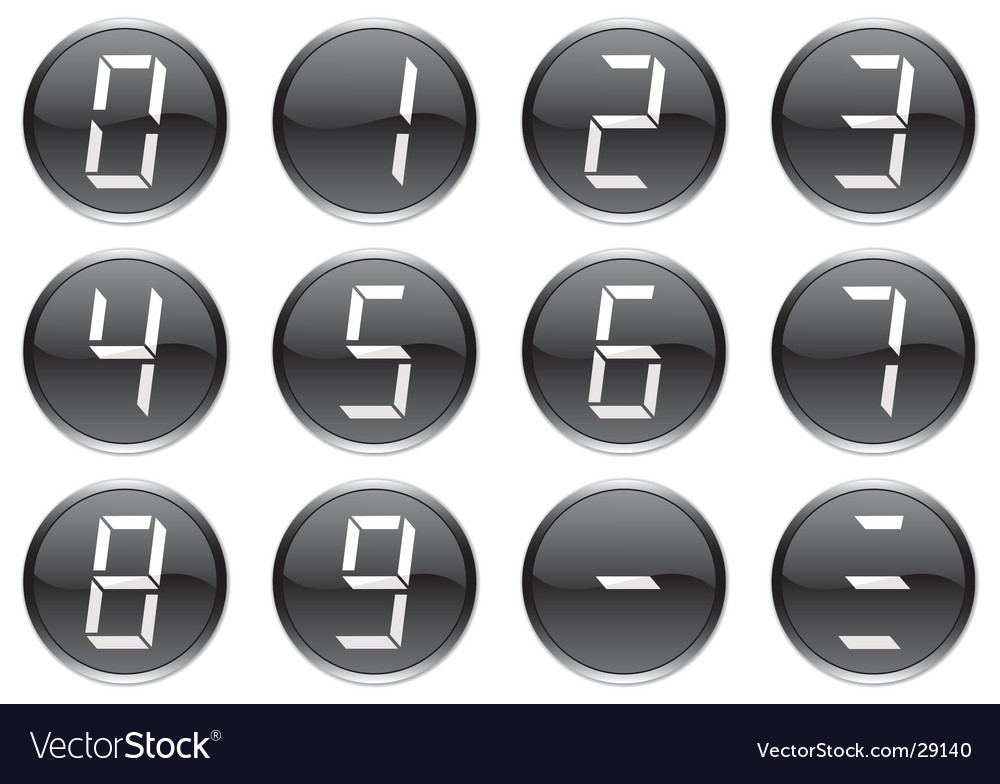 Liquid crystal digits icons vector | Price: 1 Credit (USD $1)