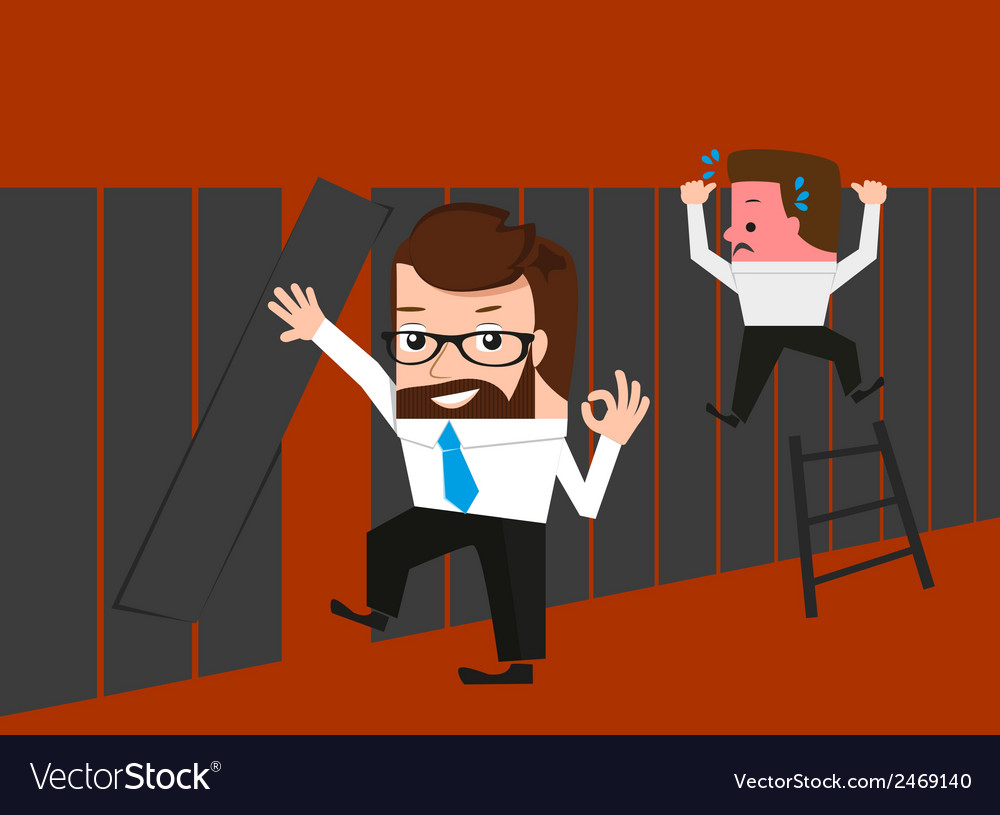Lucky businessman knows easy route through fence vector | Price: 1 Credit (USD $1)