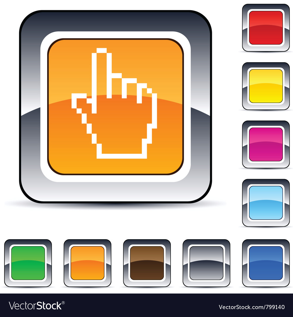 Pixel hand square button vector   Price: 1 Credit (USD $1)