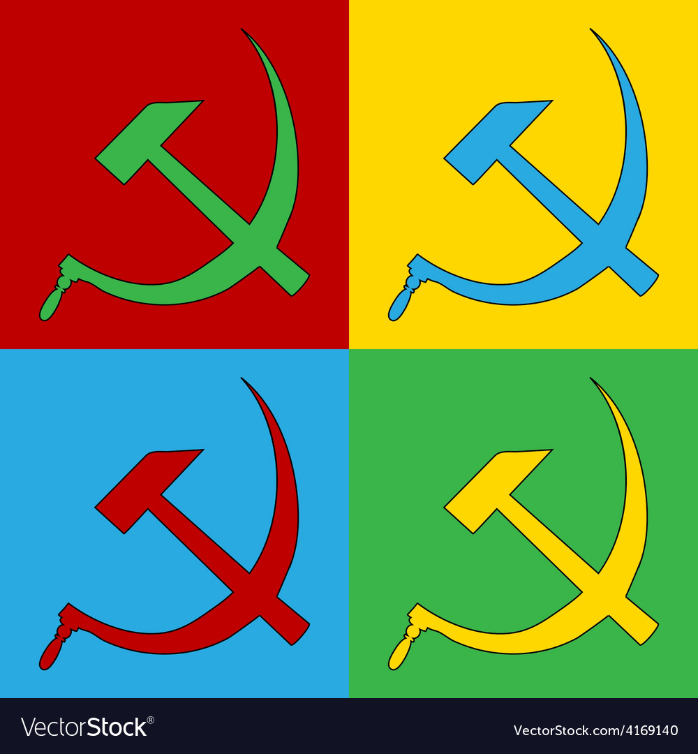 Pop art hammer and sickle icons vector | Price: 1 Credit (USD $1)