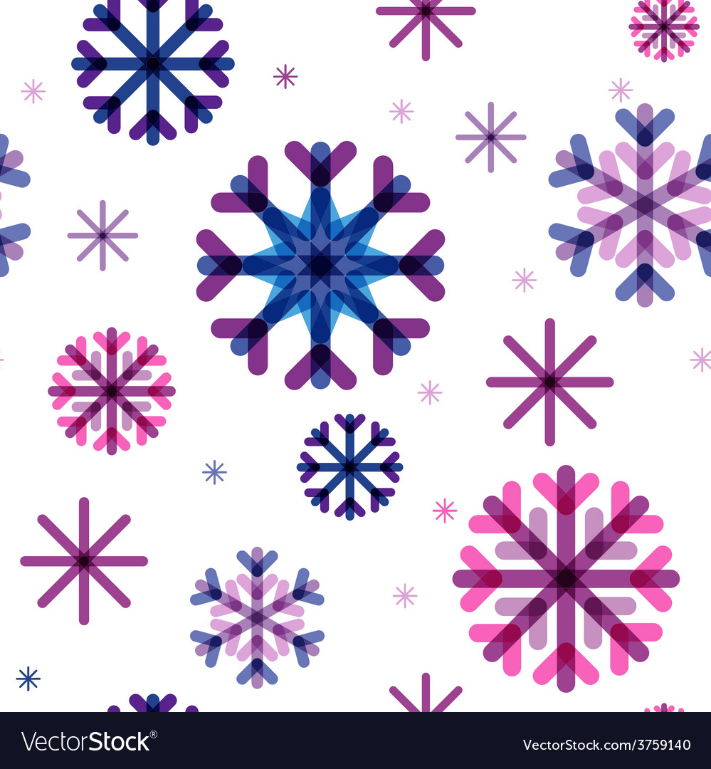Seamless pattern from color beautiful snowflakes vector | Price: 1 Credit (USD $1)