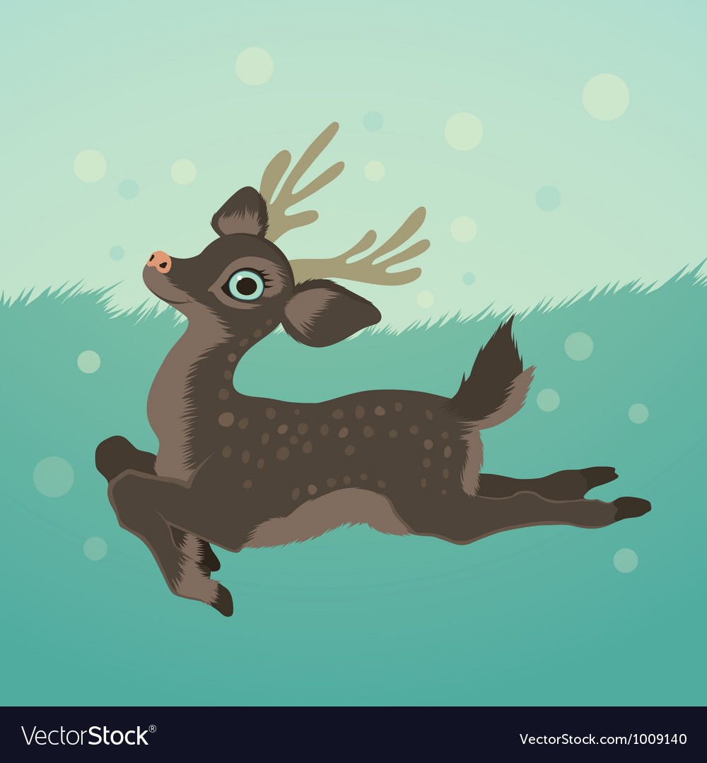 With deer in green field and snow vector | Price: 3 Credit (USD $3)