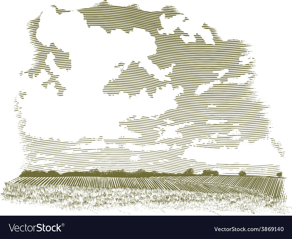 Woodcut cloud scene vector | Price: 1 Credit (USD $1)
