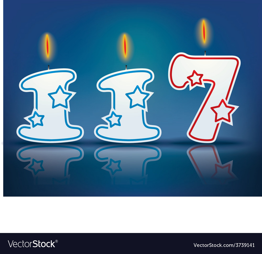 Birthday candle number 117 vector | Price: 1 Credit (USD $1)