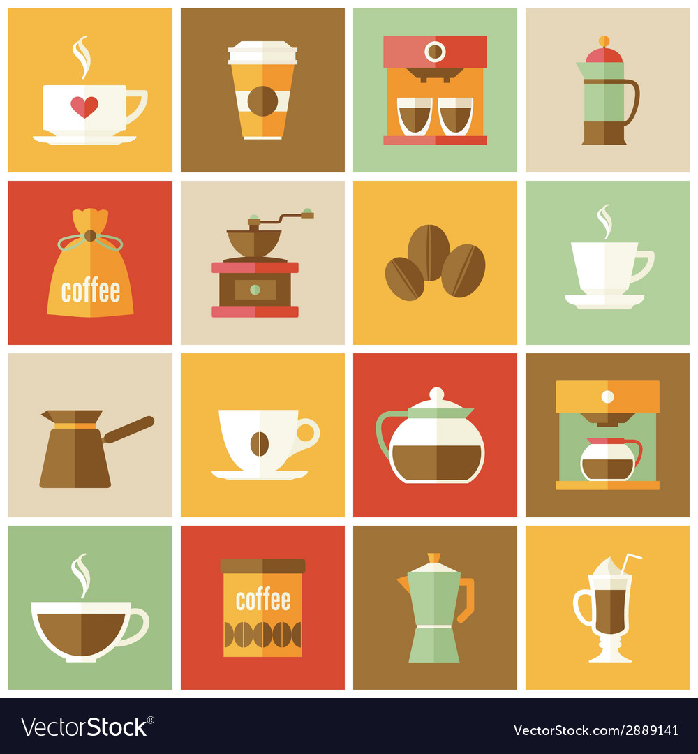 Coffee icons flat set vector | Price: 1 Credit (USD $1)