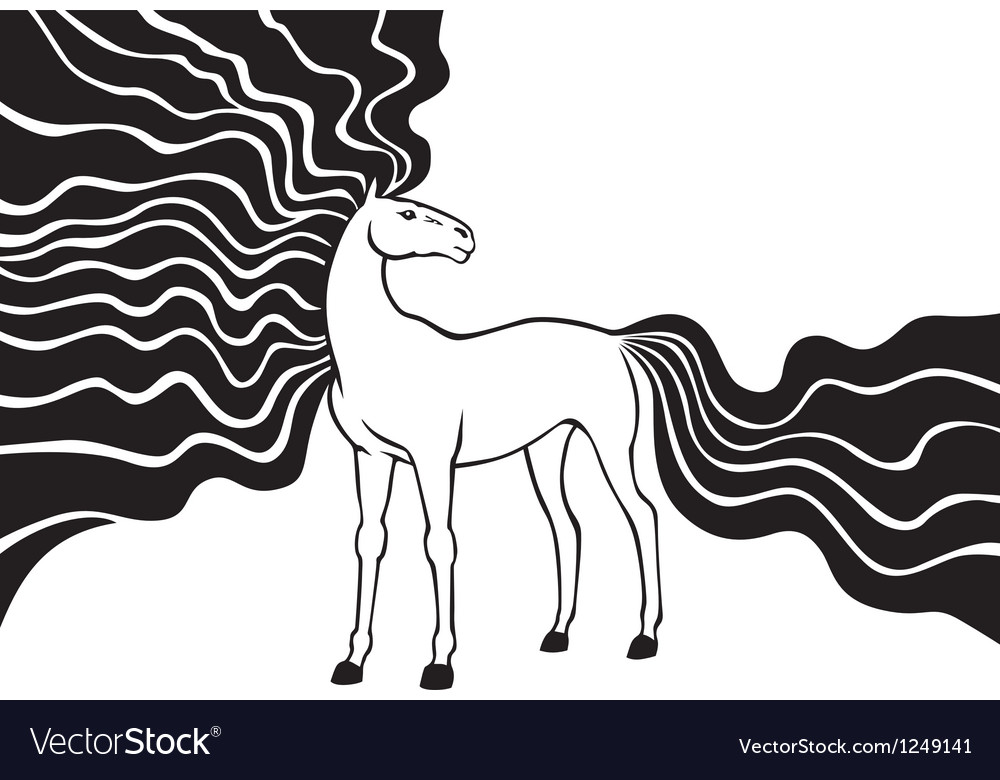 Horse long mane vector | Price: 1 Credit (USD $1)